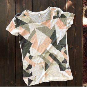J. Crew Linen Cubist Print T-Shirt